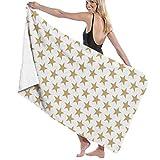 XCNGG Toalla de baño súper Absorbente y Suave sin Costuras de Estrella Amarilla, Adecuada para Hotel, Piscina, Gimnasio, Playa, 32 x 52 Pulgadas