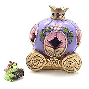 led miniature pumpkin carriage coach with princess crown on top and frog dressed as prince for fairy garden terrarium or home decor