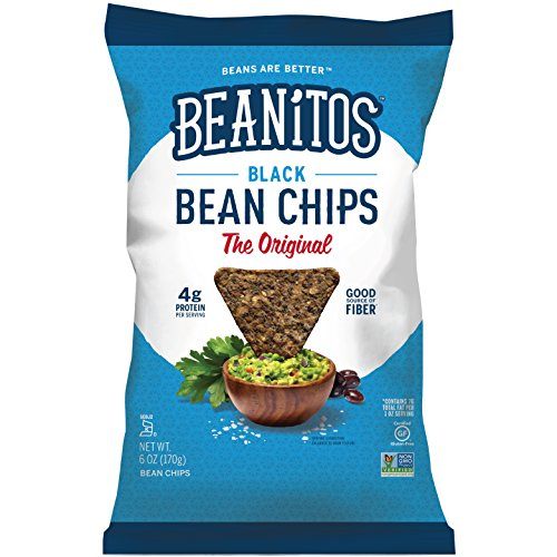 Beanitos Black Bean Chips with Sea Salt Plant Based Protein Good Source Fiber Gluten Free Non-GMO Vegan Corn Free Tortilla Chip Snack 6 Ounce (Pack of 6)