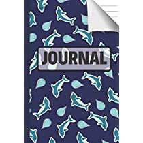 Journal: Cute Blue Dolphin Journal with Rain Drops to Write in for Kids and Teens