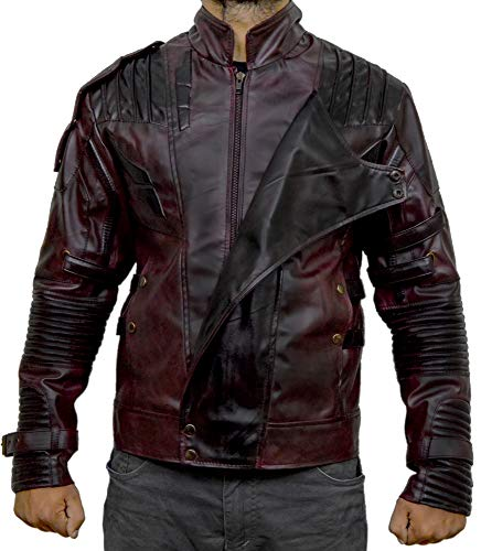 Men's Star Lord Jacket Guardians of Galaxy, Chris Pratt Maroon Leather Jacket (X-Large (Best for Chest Size 46))