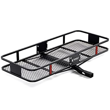 "Trailer Hitch Cargo Carrier by Vault 60"" x 22.5"" - Haul Your Cooler & Camping Gear with this Rugged Steel Storage Rack & Basket for Your Truck or SUV - Easily Mounts to Trailer Towing Hitches"