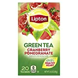 Lipton Green Tea Bags Flavored with Other Natural Flavors Cranberry Pomegranate Can Help Support a Healthy Heart 1.13 oz 20 Count (pack of 6)