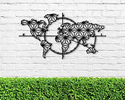 Scott397House Personalized Name Signs Mental Custom Last Sign Liv - Carte Du Monde Métallique Metal Wall Decor Metal Wall Art Metall Världskarta World Map Interior Welltkarte Metalen Wereldkaart 60cm
