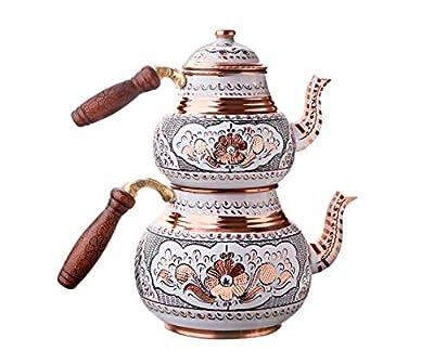 Handmade Copper Tea Pot Set, Tea Kettles Stovetop Whistling, Turkish Teapot Wooden Cool Hand, Double Water Boiler, Tea Set, Brewer Camping Tea Kettle Small Big Teapot Housewarming Wedding Water Heater