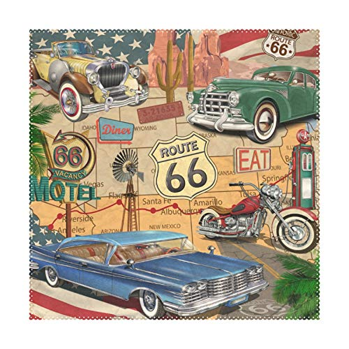 My Daily Juego de 4 manteles individuales cuadrados de mapa vintage Route 66, resistentes al calor, lavables, para comedor, cocina