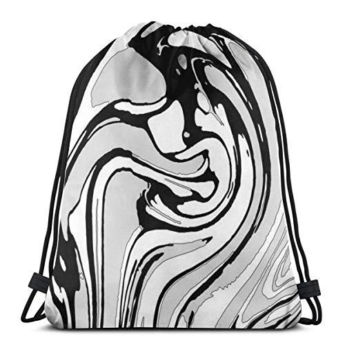 Rucksack Kordelzug Taschen Cinch Sack String Bag Schwarz-Weiß-Swirl-Effekt Sackpack für Beach Sport Gym Travel Yoga Camping Shopping School Wandern Männer Frauen