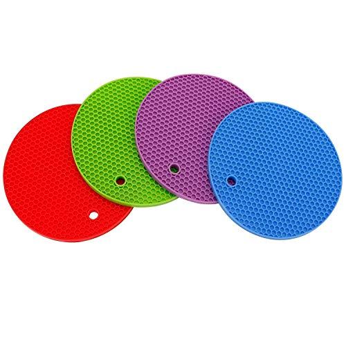 Salvamanteles redondo de silicona EleBon para platos calientes (4 unidades), color mezclado de 17,8 cm x 17,8 cm x 7,8 mm