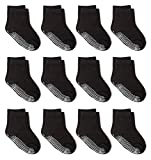 Zaples Grip Crew Socks with Non Slip/Anti Skid Soles for Baby Infants Toddlers Kids Boys Girls, Black, 12-36 Months
