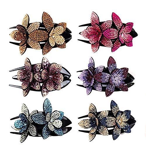 Sansund 2 / 6pcs Modische Strass Double Flower Haarspange mit schönen Strass Flexible Langlebige Frauen Haar Schwalbenschwanz Clip rutschfeste Kamm Strass Kopfschmuck