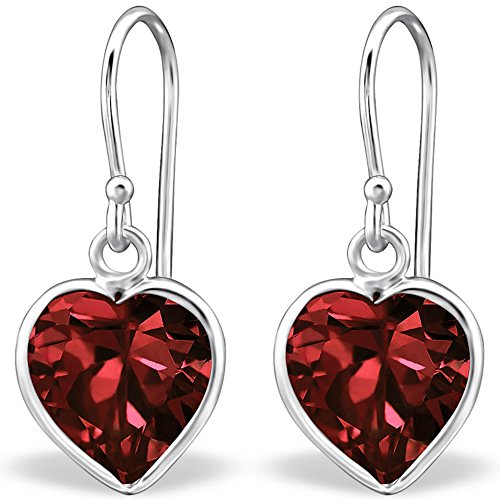 The Goldmine - Genuine 925 Sterling Silver dangly Heart Hook Earrings with Red Garnet CZ January Birthstone