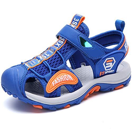 DimaiGlobal Sandalias Niño de Verano con Plantillas de Trekking Senderismo Zapatillas Niña de Zapatos Aire Libre Deportivas Sandalias con Punta Cerrada 32EU Azul Claro