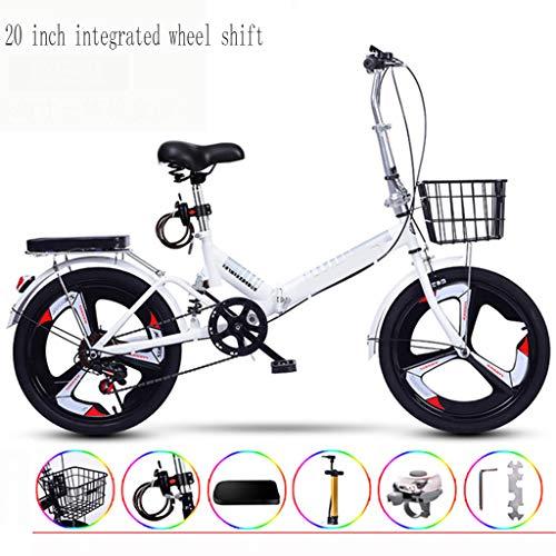 20 Inch Geïntegreerde Wheel Shift Ultralichte Draagbare Vouwfiets Voor Volwassenen Met Zichzelf Installatie,White