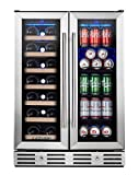 Kalamera 24'' Beverage and Wine Cooler Dual Zone Built-in and Freestanding with Stainless Steel Door...