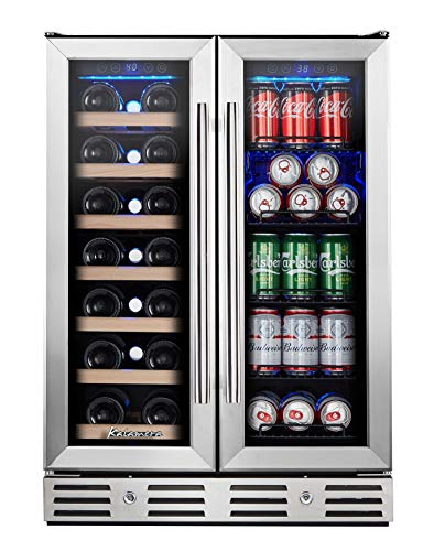"""Kalamera Wine and Beverage Refrigerator, Kalamera 24"""" Under Counter Dual Zone Wine Cooler for Home - Built in Wine Fridge w/ 20 Bottles and 78 Cans Capacity"""