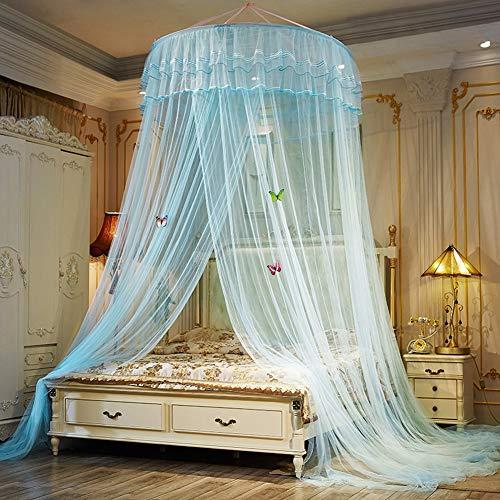 YZT QUEEN muggennet voor bed, bovenste cirkeldiameter 1,5 meter zomer hangende koepel slaapkamer bednet met vlindernaald, geschikt voor de meeste eenpersoonsbedden, tweepersoonsbedden