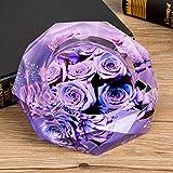 kyman Crystal Ashtray Purple Rose Europeo Fumar Ash S15x15x3.5 / M18x18x5 /...
