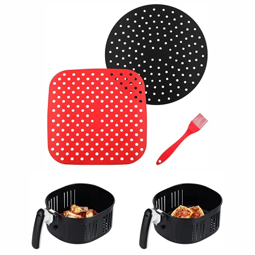 Reusable Air Fryer Liners 8.5/9 inch Air Fryer Paper Available Silicone Air Fryer Mats with Silicone Brush Air Fryer Accessories for Air Fryer, Steaming Basket and More BPA Free 2 Pack (3Pcs)