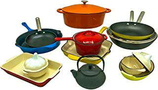 Le Chef 18-Piece All Enameled Cast Iron Cookware Set. (Multi-Colored, OR3.)