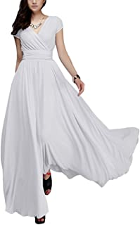 64156c4d3aa IBTOM CASTLE Women s Chiffon V Neck Bridesmaid Evening Dress Long Maxi  Formal Prom Wedding Party Cocktail