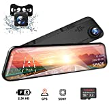 SPADE 12' Mirror Dash Cam 2560P Backup Camera with GPS Touch Screen Front and Rear View Dual Lens Full HD WDR Night Vision, G-Sensor (Free 32GB SD Card) for Cars/Trucks