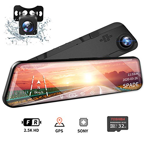 """SPADE 12"""" Mirror Dash Cam 2560P Backup Camera with GPS Touch Screen Front and Rear View Dual Lens Full HD WDR Night Vision, G-Sensor (Free 32GB SD Card) for Cars/Trucks"""