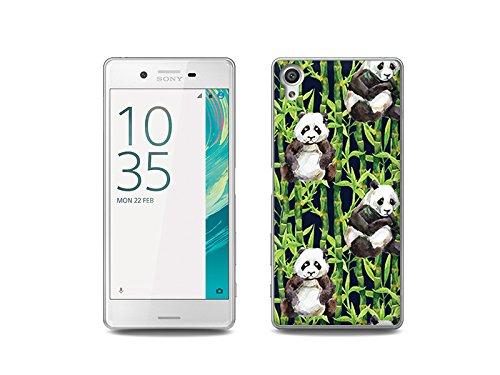 etuo Handyhülle für Sony Xperia X Handyhülle Schutzhülle Etui Hülle Hülle Cover Tasche für Handy Fantastic Hülle - Pandas mit Bambus