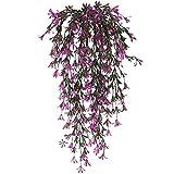 NAHUAA 2pcs Hängepflanze Künstlich Pflanze Efeu Kunstpflanze Hängend Plastikpflanzen Groß Unechte Pflanze für Topf Balkon Draußen Garten Hochzeit Wand Deko Lila