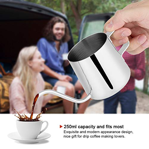 Koffie Pot, 250ml/350ml RVS Druppel Koffie Pot Lange Zwanenhals Tuit Ketel Cup Thee Tool 250ml ZILVER