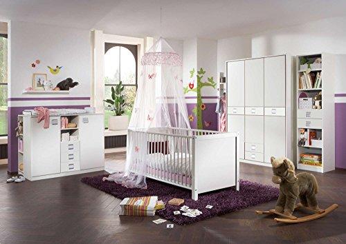 lifestyle4living Babyzimmer Kinderzimmer Komplett-Set Babymöbel Babybett Wickelkommode Babyausstattung Einrichtung Komplett Schrank Mädchen Junge Weiß