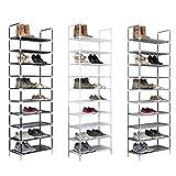 Vivol Zapatero XL para 20 pares de zapatos, zapatero con 10 niveles, 178 x 56,5 x 27 cm, altura regulable, resistente al agua, color negro
