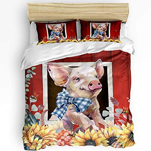 LUCKCHN Full Duvet Cover Set, Sunflowers and Bees with Pig in The Barn of Country Style Farm Microfiber Bedding Sets 3 Piece Set Comfortable, Warm Cover Sets for Hotel, Home All Season