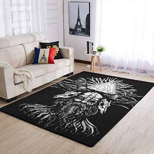 AXGM Alfombra Shaggy con árbol de la vida, para salón, dormitorio, pasillo, color blanco, 91 x 152 cm