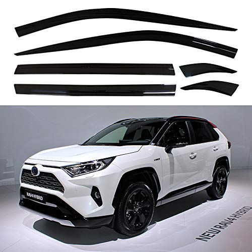 AUTOCLOVER Dark Smoked Side Window Vent Visor 6 Piece Set for Toyota RAV4 2019 2020 2021 / Safe RAIN Out-Channel Guard Deflector