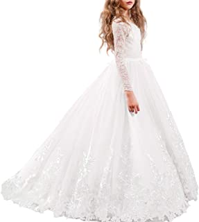 Flower Girl Wedding Tulle Lace Long Dress Princess Pageant Party Formal Communion Dance Evening Maxi Gown