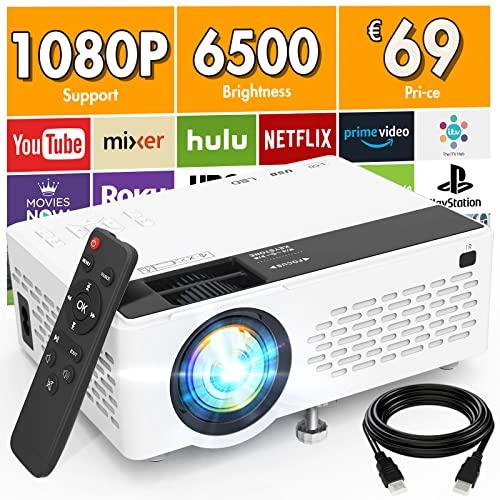 Proiettore V08 Supporta 1080P Full HD, Mini Proiettore da 6500 Lumens, Proiettore Portatile Compatibile con Chiavetta TV HDMI VGA USB TF AV, Videoproiettore per Home Cinema & Film All'aperto.