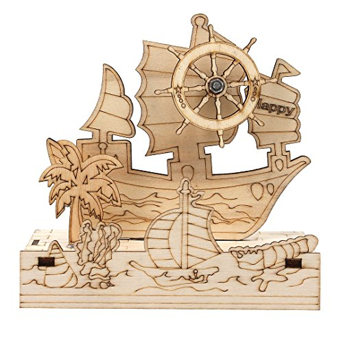 Rosee Box Wood Sailboat Music Box with Light Decorative Gift Mechanism Music Box for Home Decor