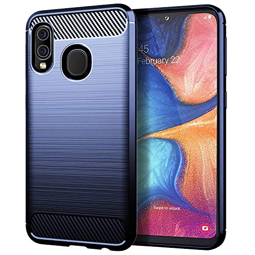 Layeri kompatibel mit Samsung Galaxy A20e Hülle,Kohlefaser-Textur Weiche Silikon Handyhülle Soft TPU Bumper Schutzhülle Stoßfest Case Cover für Galaxy A20e (A20e, Blau)