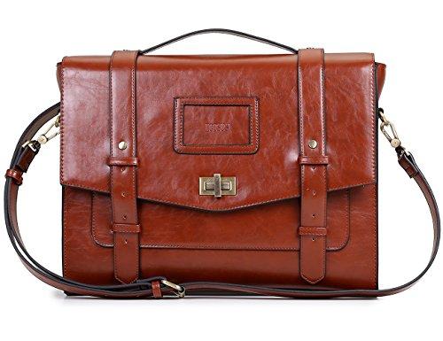 """ECOSUSI Ladies Faux Leather Briefcase Shoulder Laptop Messenger Bags Satchel Bag Cambridge Backpack Fit 14"""" Laptop Brown"""