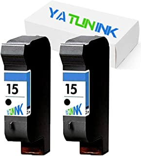 YATUNINK Remanufactured Ink Cartridge Replacement for HP 15 Black Ink Cartridges Compatible DeskJet 3820 DeskJet 920C DeskJet 940C OfficeJet 5110 OfficeJet V40 PSC 750 PSC 950 (2 Black)