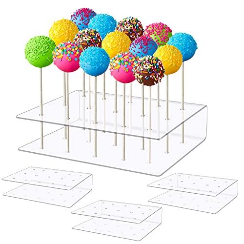Soporte Transparente para Piruletas 4 Piezas Acrílico Expositor de Cake Pop 15...
