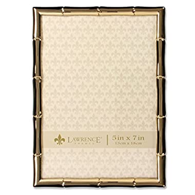 Lawrence Frames 5 x 7 Gold Metal Picture Frame with Bamboo Design