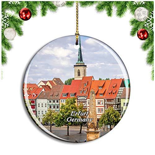 Weekino Erfurt Kramerbrücke Deutschland Christbaumkugel Hängender Weihnachtsbaum Anhänger Dekor Travel Souvenir Collection Porzellan 2,85 Zoll