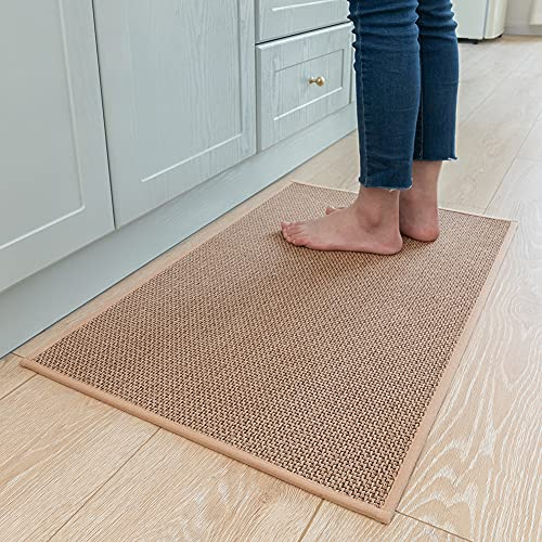 """Kitchen Rugs and Mats Non Skid Washable, Absorbent Runner Rugs for Kitchen, Front of Sink, Kitchen Mats for Floor (Beige, 20""""x32"""")"""