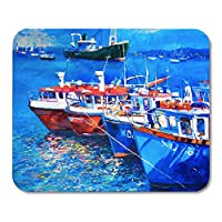 マウスパッドブルーセイルオリジナル油絵キャンバス釣りボートマウスパッド用ノートブック、デスクトップコンピュータマットオフィス用品