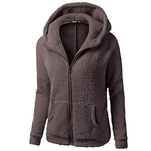 LANSKRLSP Chaqueta Mujeres de Invierno de Lana Cálida Hoodies con Cremallera Abrigo con Capucha Casual Suéter Abrigo de Algodón Talla Grande Outwear 2021