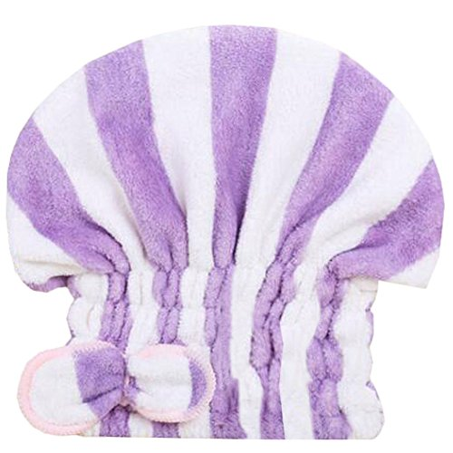 Trockenes Haar Cap Duschhaube Female trockenes Haar-Tuch Lila Streifen