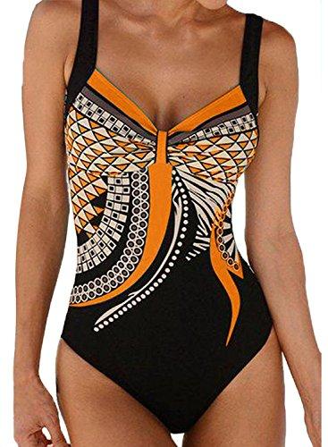 HAPPY SAILED Damen Badeanzug Drucken Push Up Bademode Bauchweg Badeanzuge Swimsuit S-XXL (1orange, XL)