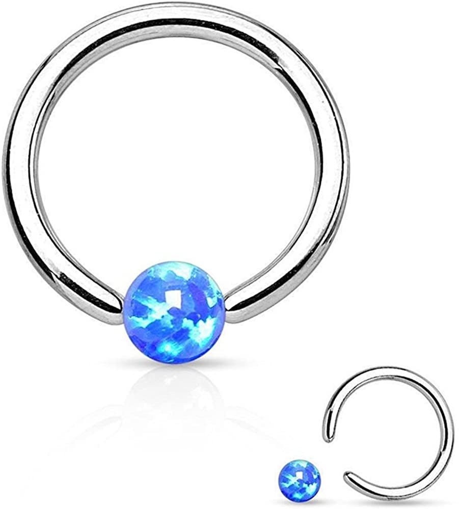 Covet Jewelry Synthetic Opal Ball 316L Surgical Steel Captive Bead Ring