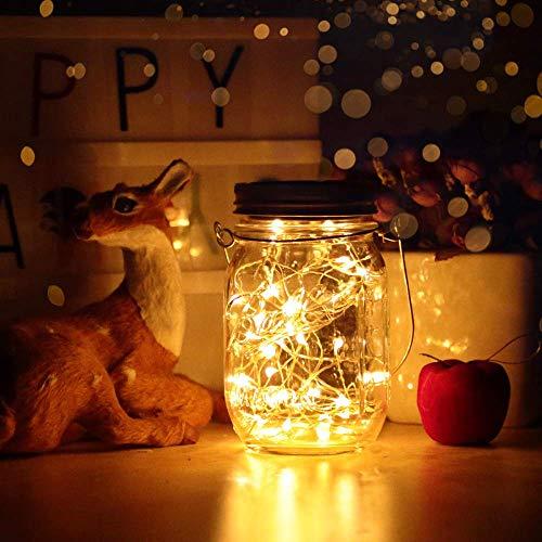 Lámpara de Decoración Solar,40 LED Lámpara Solar Mason Jar Lámpara Ahorro de Energía e Impermeable para Jardín Interiores/Exteriores Festival y Decoración de Fiesta Bodas